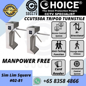 Turnstile CCUT550A Access Control Bi-Directional Manpower Free Time Attendance Facial Recognition Trace Together Safe Entry