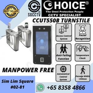Turnstile CCUT550B Entrance Access Control Biometric Facial Recognition RFID Flap Barrier Gate Door Tripod Temperature Gym