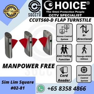 Turnstile CCUT560D Entrance Access Control Biometric Facial Recognition RFID Flap Barrier Gate Door Tripod Temperature Gym