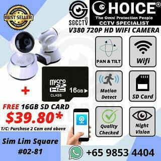 CHEAPEST IP Camera Pan Tilt Two way Audio Free 16GB Storage, V380 APP, Wifi Camera, 720P HD Camera