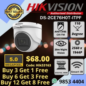 Hikvision DS-2CE76H0T-ITPF 5MP Wide Angle Mini Dome Camera Installation Company Office Shop Warehouse Factory Home