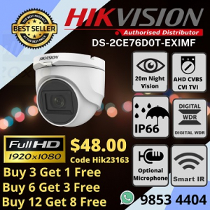 Sim Lim Price List Installation Company Office Shop Warehouse Factory Home Hikvision Pricelist DS-2CE76D0T-EXIMF