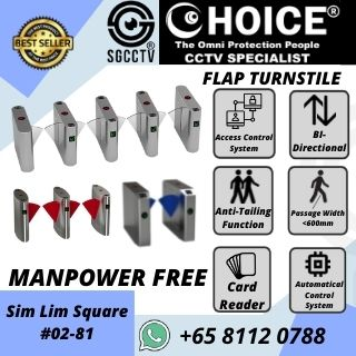 Turnstile CCUT560D Flap Access Control Biometric Facial Recognition RFID Flap Barrier Gate Door Tripod Temperature Gym MRT