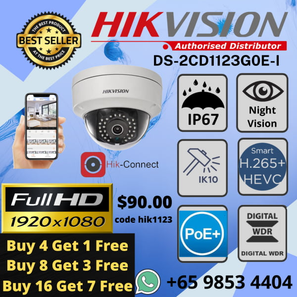 Hikvision DS-2CD1123G0E-I IP POE Dome Network Camera H.265+ 2MP 1080P Power Over Ethernet Outdoor Weatherproof IP67