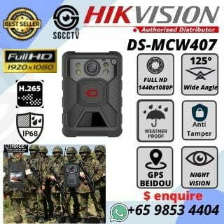 Body-Worn Camera Hikvision DS-MCW407 Security Officer Police Force Army Officer Training Instructors Video Evidence Court Evidence Self Protection Avoid Accusation