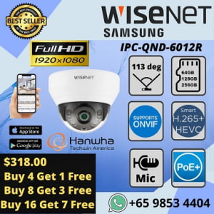 Hanwha Techwin QND6012R Camera Samsung Dome Camera Showroom Office Home Mall Government Agency2MP 1080P Full HD H.265 IP POE SD Card IR 20m Wide Angle 114 degree