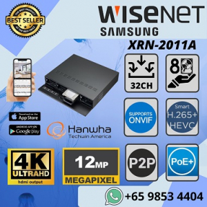Hanwha Techwin XRN-2011A NVR Samsung Showroom Office Home Mall Government Agency 12MP H.265 32CH NVR 4K HDMI Video Output