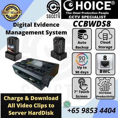 DOCK STATION 8 Ports CCBWDS8 BODY WORN CAMERA POLICE BODY WORN Touch Screen DIGITAL EVIDENCE MANAGEMENT SYSTEM DEMS SOFTWARE CLOUD DATA MANAGEMENT SYSTEM